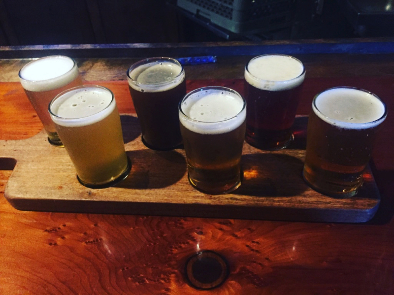 Beer flight at Armstrong Brewery in South San Francisco